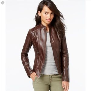 Guess Faux Leather Textured Bomber Jacket